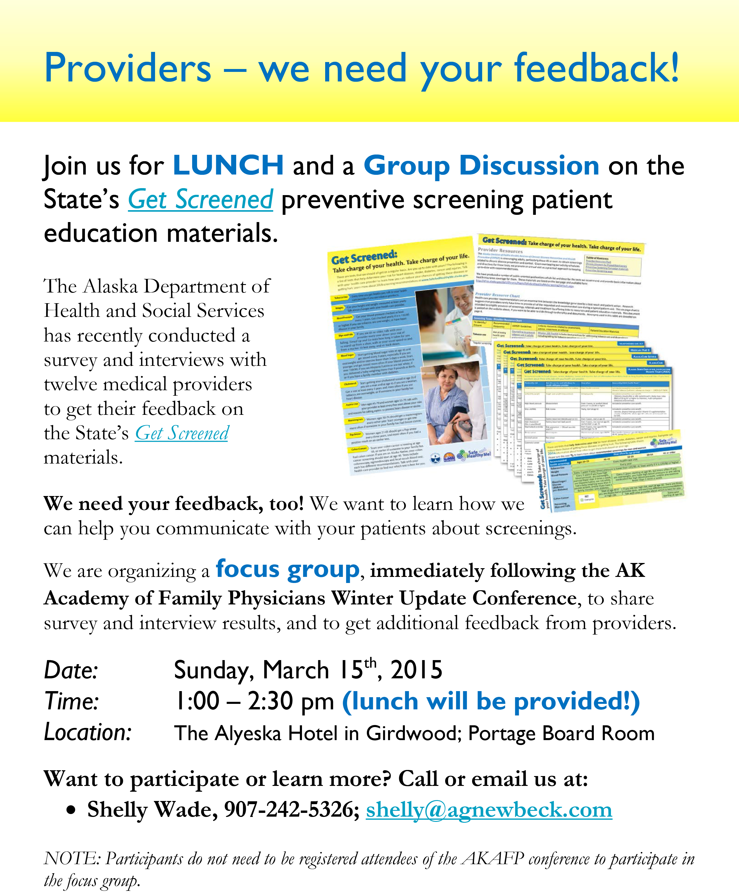 provider focus group march 15 call for volunteers